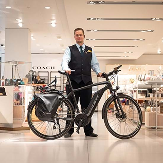 Johan van der Donk on the e-bike